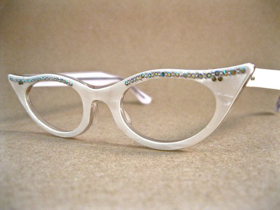 White Rhinestones: Cat Eyes, Cat Eye Glasses, Pearliz Cat