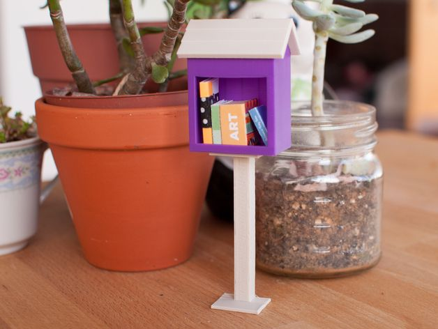 "A 3D printed and shareable little library for lovers of reading, books, sharing, and Little Free Libraries. Print one for yourself or to share in your nearest Little Free Library. You can also use it as a bookend, a library for a dollhouse, or to hold jewelry and small knick-knacks. Modeled to 1"" scale based on plans found on http://littlefreelibrary.org/builders/. This little Little Free Library would make a great 3D printed gift for bookworms and lovers of the sharing ec..."