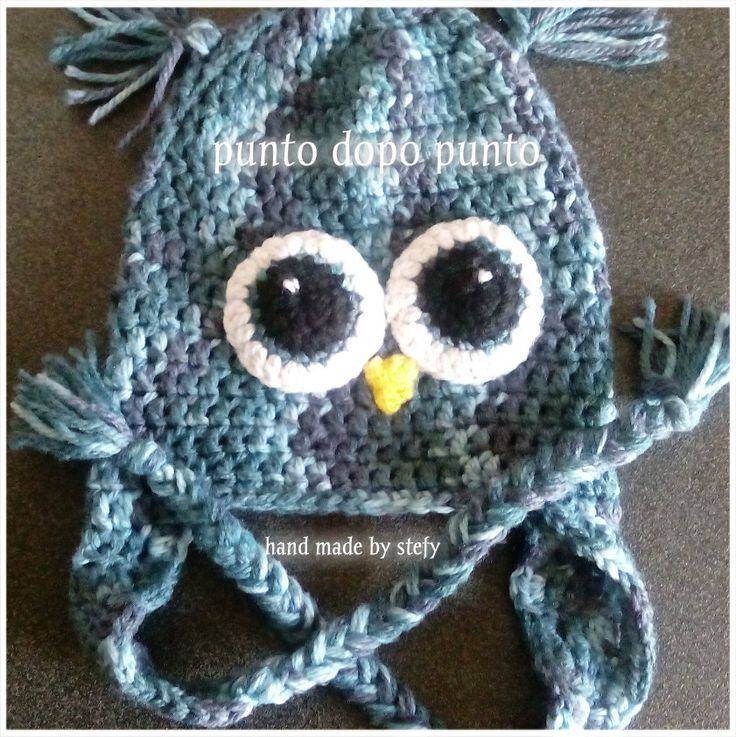 Cappello GUFO fatto a mano ad uncinetto. Bimbi ed adulti.  Crochet OWL hat for child and adults.