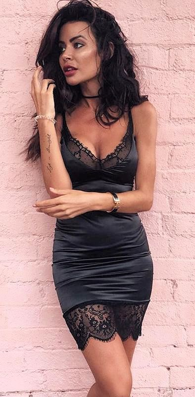 Sleeveless spaghetti strapped lace hemming elegant mini satin mini bodycon dress  Details  Polyester, Sequin Sequin Imported Delicate Cold Wash Fits True To Size