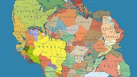 Mapa de Pangeia e os continentes atuais     Em que altura do continente africano a costa brasileira coincidiria antes da separação dos co...