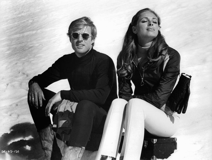 Robert Redford and Camilla Sparv while filming Downhill Racer.