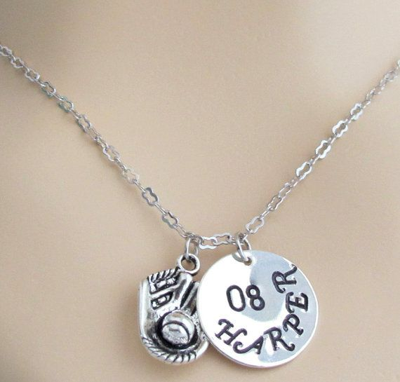 Check out this item in my Etsy shop https://www.etsy.com/listing/256700471/baseball-necklace-with-hand-stamped-name