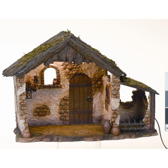 "Fontanini 10"" Lighted Medium Nativity Stable & Reviews | Wayfair"