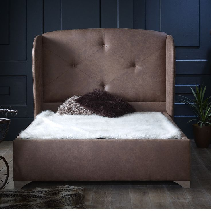 hector king faux leather bed frame brown choose option