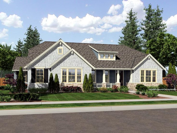 craftsman ranch house plan 92604 - Craftsman Ranch Home Exterior
