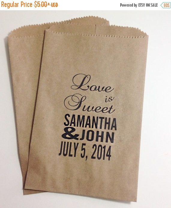 Personlized Custom Candy Buffet Favor Bags Wedding Candy
