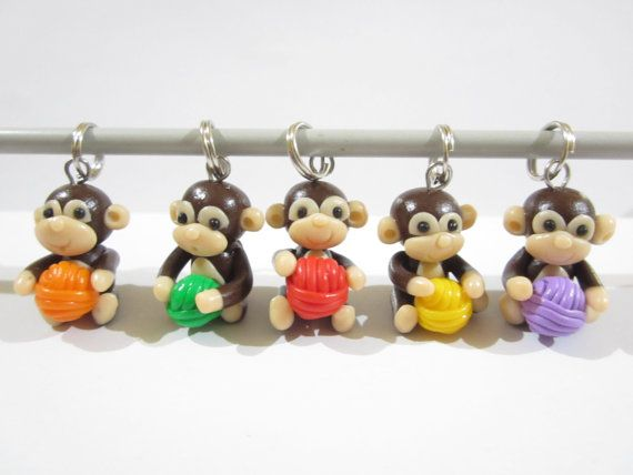 Knitting Monkey Stitch Markers cute charms funny by beadpassion