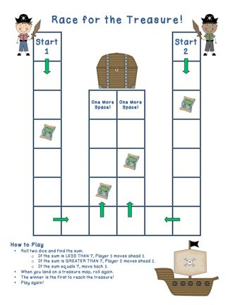 Here's a set of 3 different pirate themed game boards for practicing basic addition facts.