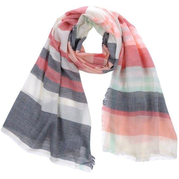 Naf Naf Scarf (610 MXN) ❤ liked on Polyvore featuring accessories, scarves, red, naf naf, gauze scarves, red scarves, red shawl and striped scarves