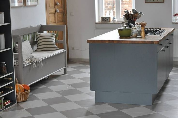 Kitchen greys from farrow and ball - floor diamonds in elephants breath and darker is charleston grey.