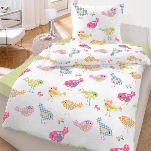 blødt flonel sengesæt (på tysk hedder stoffet biber)  IDO-Feinbiber-Bettwaesche-Voegelchen-80x80-135x200-cm-Kinderbettwaesche-NEU