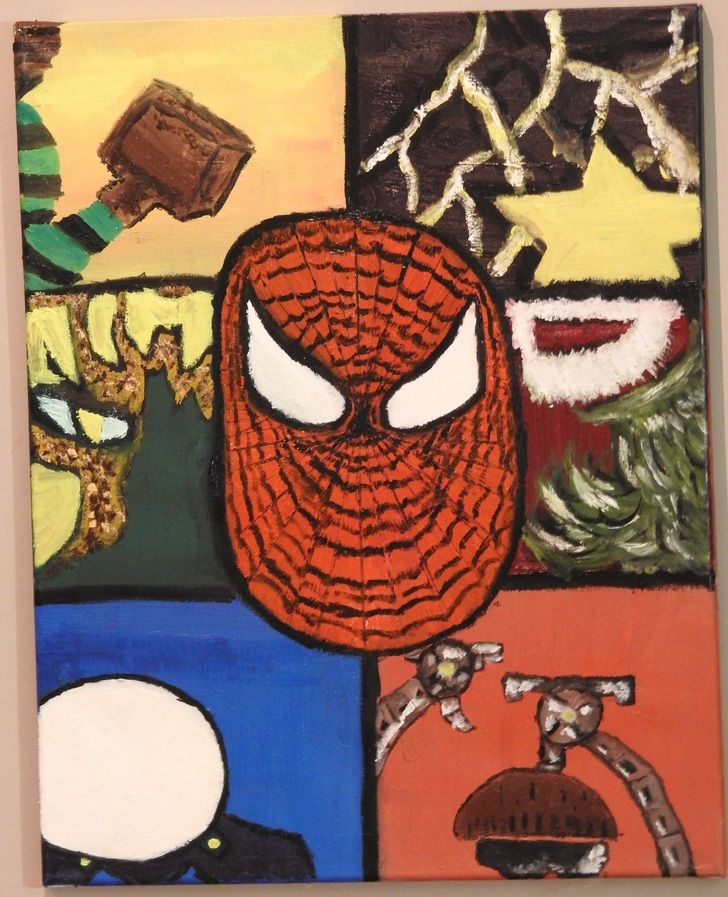 Spider-Man and the Sinister Six, oil, 16x20