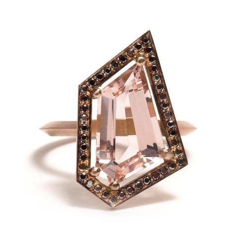 Black Diamond and Pink Morganite Five Claw Elevate Ring by Melanie Katsalidis