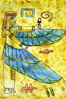 draw Egyptian figure and hieroglyphics, trace with sharpie, age paper with coffee (?) and then paint with tempera cakes in select areas