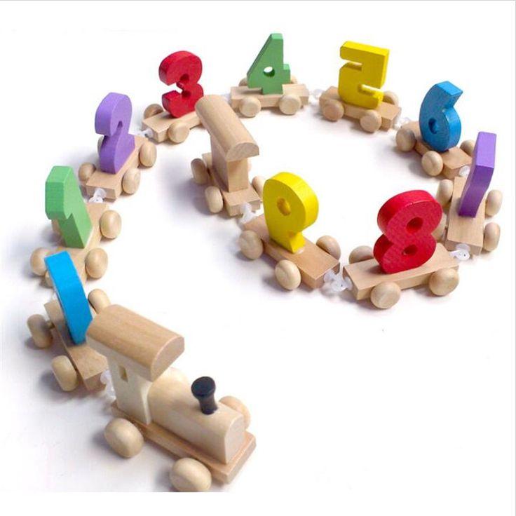 아이의 몬테소리 부드러운 나무 기차 모델 장난감 번호 패턴 0 ~ 9 선물 아기 & 아이 조기 교육 장난감 WD006