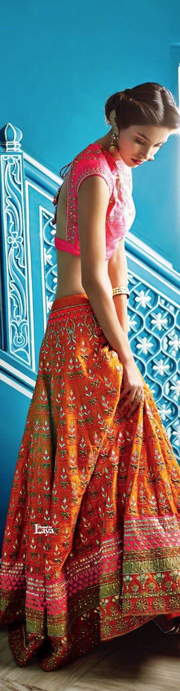 Gorgeous Orange & Pink #Lehenga by @anitadongre shop.AnitaDongre.com <3 (B'ful Choli & EarCuff too)