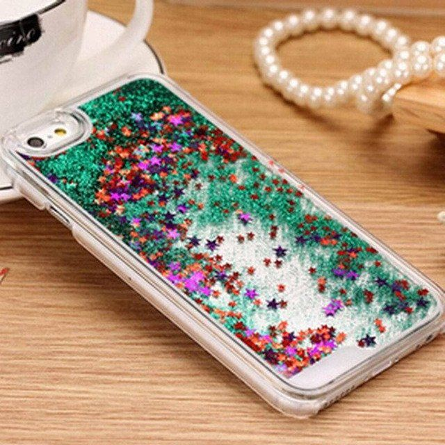 Fashion Liquid Glitter meteor sand sequins Colorful Dynamic Transparent Hard Mobile Phone Cases For iphone4s/5 SE/6 6s/7Plus