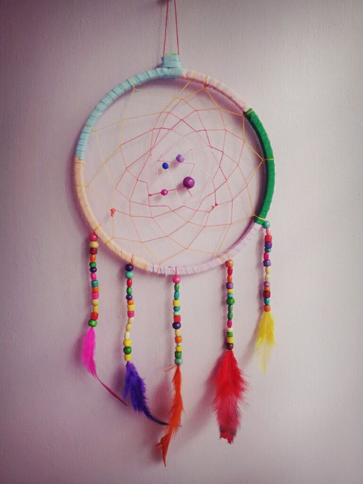colourful handmade dreamcatcher with curtain cotton ribbon bands .embroidery threads,wooden coloured beads & coloured feathers