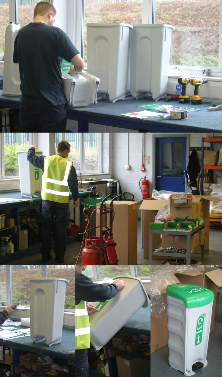 Vinyl stickers being applied by hand to the Nexus® Shuttle food waste recycling bins.