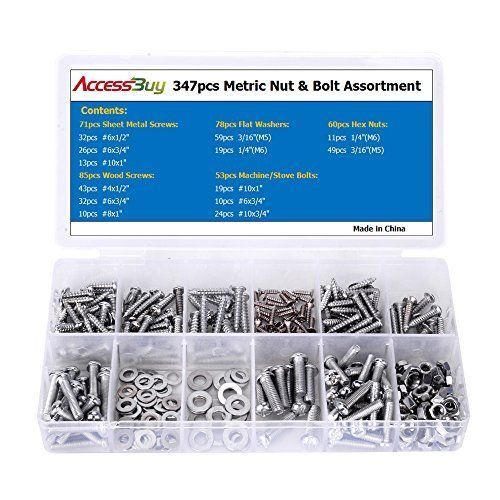 Accessbuy 347pc Home Nut Bolt Screw & Washer Assortment All Phillips Head #GSTool