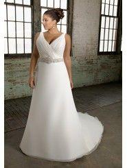 Organza V-neckline A-line Wedding Dress