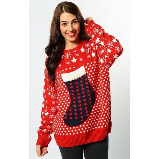 Foute kerstprint truien Kerstsok  Rode dames kersttrui 3D kerstsok. De kersttrui is gemaakt van 100% acryl.  EUR 28.95  Meer informatie