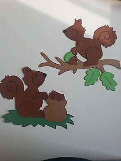 Fensterbild Tonkarton Eichhörnchen Herbst Halloween Herbstdeko Dekoration