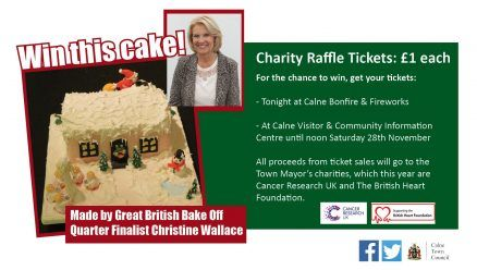 Charity Raffle for Bake Off Christmas Cake - Win a Christmas cake made by Great British Bake Off Quarter Finalist Christine Wallace in Calne Town Council's charity raffle.<br />