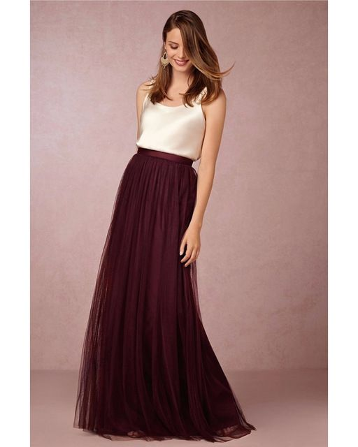 Two Piece Bridesmaid Dresses Ivory Top with Tulle Long Skirts Burgundy Lavender Sage Royal Blue Coral Bridesmaid Dresses