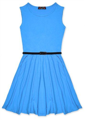 Girls Skater Dress Kids Party Dresses Belted New Age 7 8 9 10 11 12 13 Years Exciteclothing http://www.amazon.com/dp/B00KIPXJT6/ref=cm_sw_r_pi_dp_ijjKub1W1GZCP