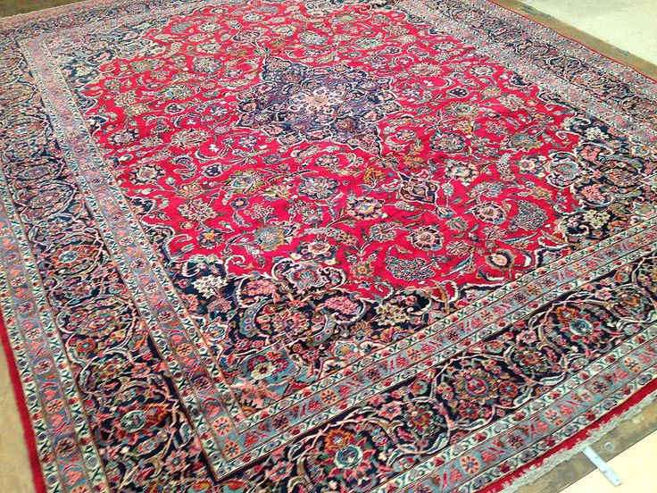 11 X 13 Persian Kashan Hand Knotted Wool Traditional Reds Blues Oriental Rug In Antiques