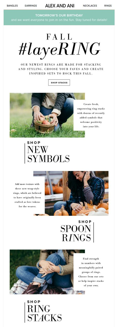 Alex & Ani Fall email. Subject line: Create new stacking styles this fall
