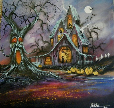 Spooky house with a spooky tree and a backyard graveyard