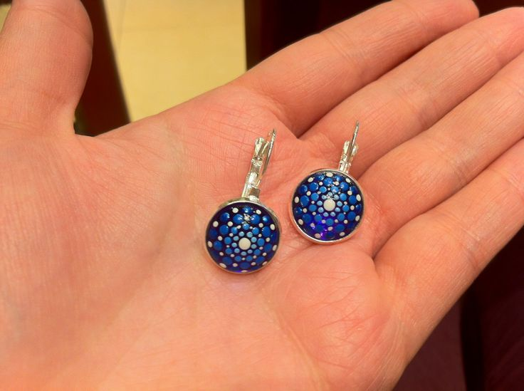 Purple and blue dotillism art dangles, dot painted earrings, handmade small round glass earrings by DandelyonDesign on Etsy