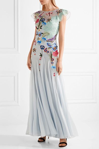 Temperley London - Aura Embroidered Lace, Tulle And Georgette Gown - Sky blue - UK