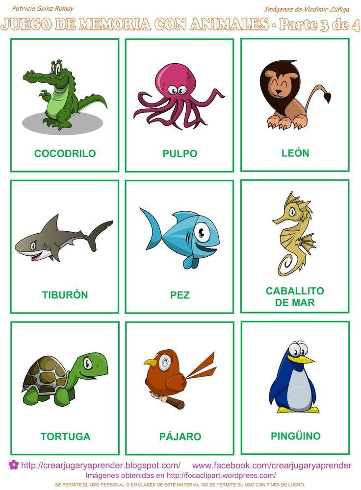 Ahora la parte tercera del memorama de animales a colores:     Para descargar en FORMATO PDF haz clic aquí:   juego de memoria de animales...