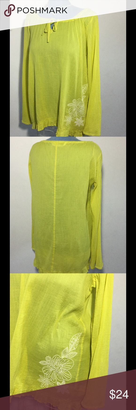 Big and Tall Size M Long Sleeve Lime Green Shirt Long Sleeve Lime Green Shirt with ruffled hem, flair sleeves and embroidered flower embellishment at left bottom of shirt. Athlete Brand, Design in Sonoma County made in India. Machine was cold, 100% Cotton  Size medium Big and Tall Athleta Tops Tunics