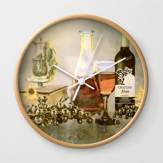 """Available in natural wood, black or white frames, our 10"""" diameter unique Wall Clocks feature a high-impact plexiglass crystal face and a backside hook for easy hanging. Choose black or white hands to match your wall clock frame and art design choice. Clock sits 1.75"""" deep and requires 1 AA battery (not included). #SALE #Free shipping today! #Tuscany #dreams #art #clock"""