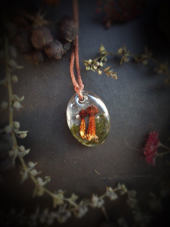 Little #forest #necklace with real #mushroom by #GoldenForestBoutique