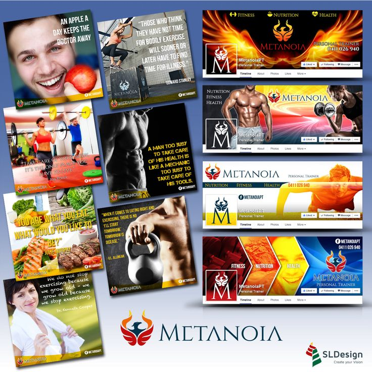 Identity and Facebook GrFX Plan for Metanoia, available on http://slfolio.com/social-media/  #fitness #creative #socialmediamarketing
