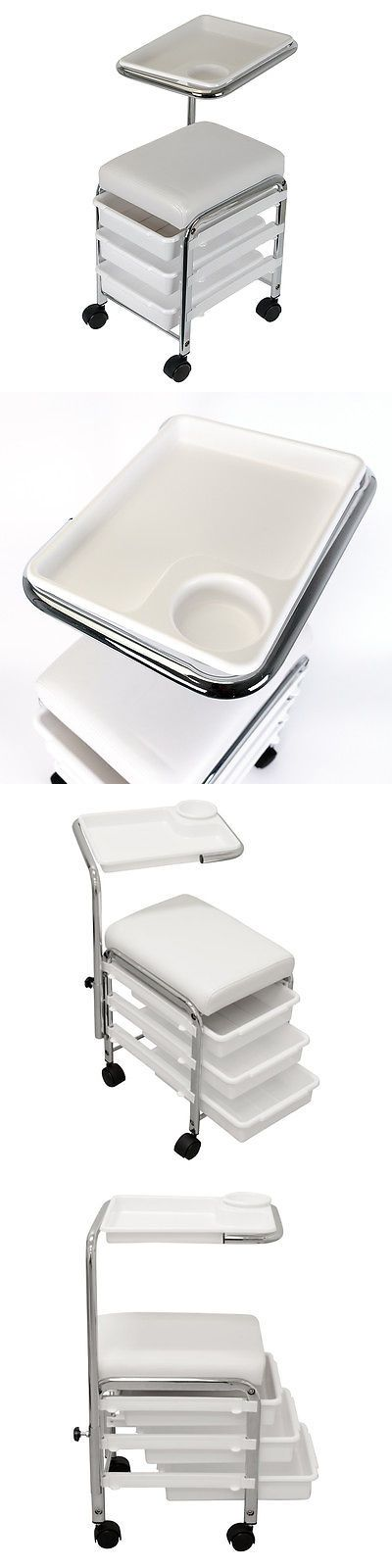 Stylist Stations and Furniture: White Pedicure Manicure Nail Salon Spa Cart Trolley Stool Chair W/ Shelves BUY IT NOW ONLY: $51.99