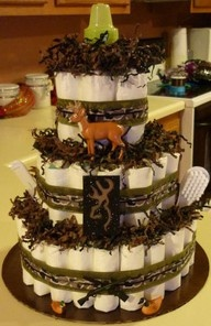 camo diaper cakes for a baby boy!