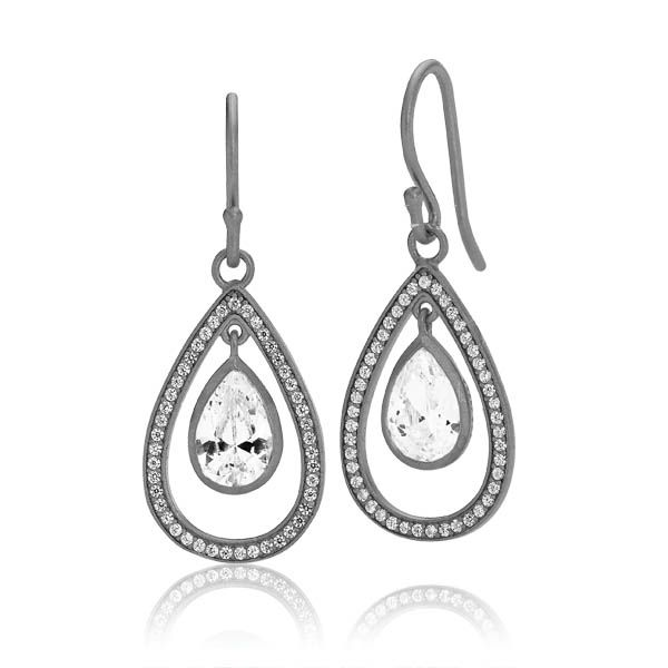 GODDESS earrings with pendants of open drops with white sparkling zirconias in matt black sterling silver and a big white sparkling zirconia is dangling from the center of each earring - Danish design jewelry by Izabel Camille. Price: EUR 130 No. A1197ssr-white www.izabelcamille.com
