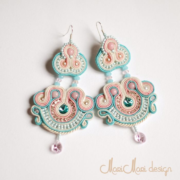 #brincos #earrings #bridal #swarovski #soutache #light blue and rose #azul claro e cor de rosa claro