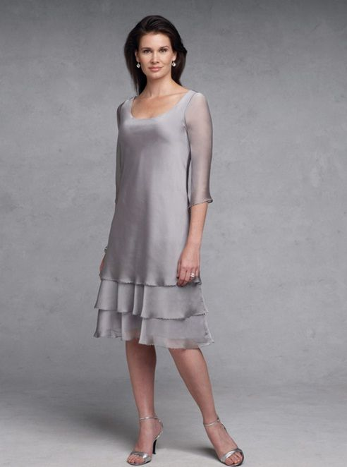 Short mother of the bride dresses. Platinum grey formal dresses for the mothers of the wedding.  Long sleeve #motherofthebridedresses with a tiered skirt.  See other mother of the bride formal dresses at www.dariuscordell.com