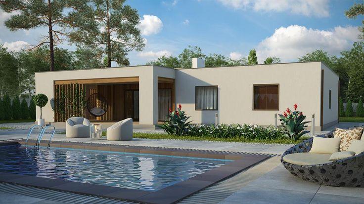 Одноэтажный дом в стиле минимализм – 130,37 кв.м. | Экопан