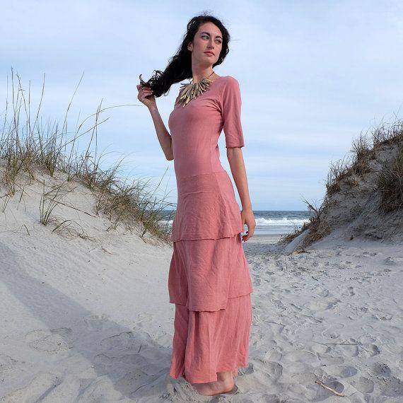 Organic Kerela Fountain Long Dress (light hemp/organic cotton knit)