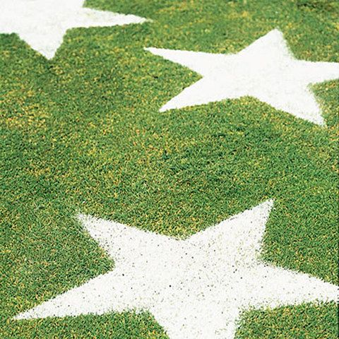 Cut out star stencils out of paper or cardboard and sift flour over them to create lawn stars. | 31 Last-Minute 4th Of July Decorating Tricks
