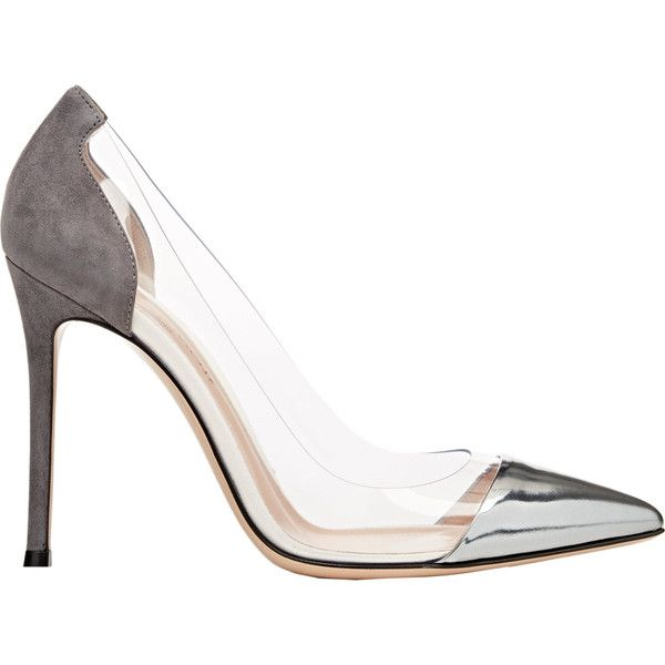 "Gianvito Rossi Cap-Toe ""Plexi"" Pumps ($745) ❤ liked on Polyvore featuring shoes, pumps, heels, colorless, metallic pointed toe pumps, clear shoes, slip-on shoes, leather sole shoes and clear pointed toe pumps"